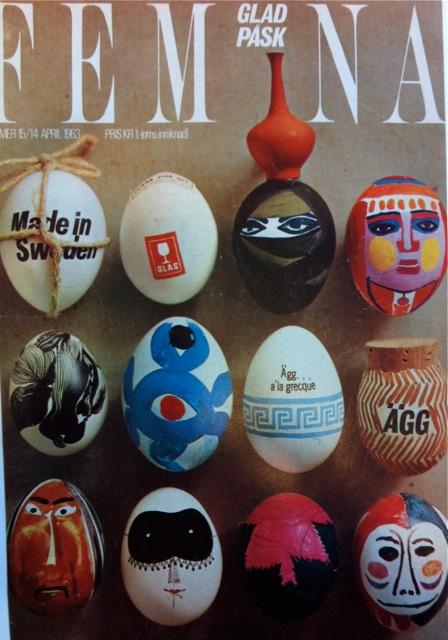 Feminas omslag till påsknumret 1963. Ett av äggen är målat av formgivaren Stig Lindberg.