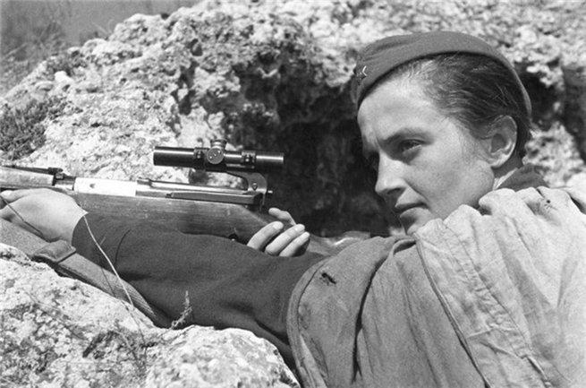 Prickskytten Ludmila Pavlitjenko tjänstgjorde i Röda armén.