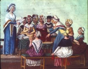 Revolutionära kvinnor i Paris cirka 1790.