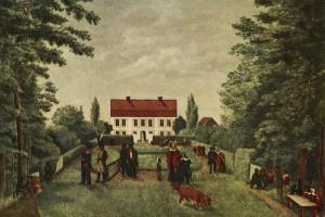 Suellska villan på en målning från mitten av 1800-talet.